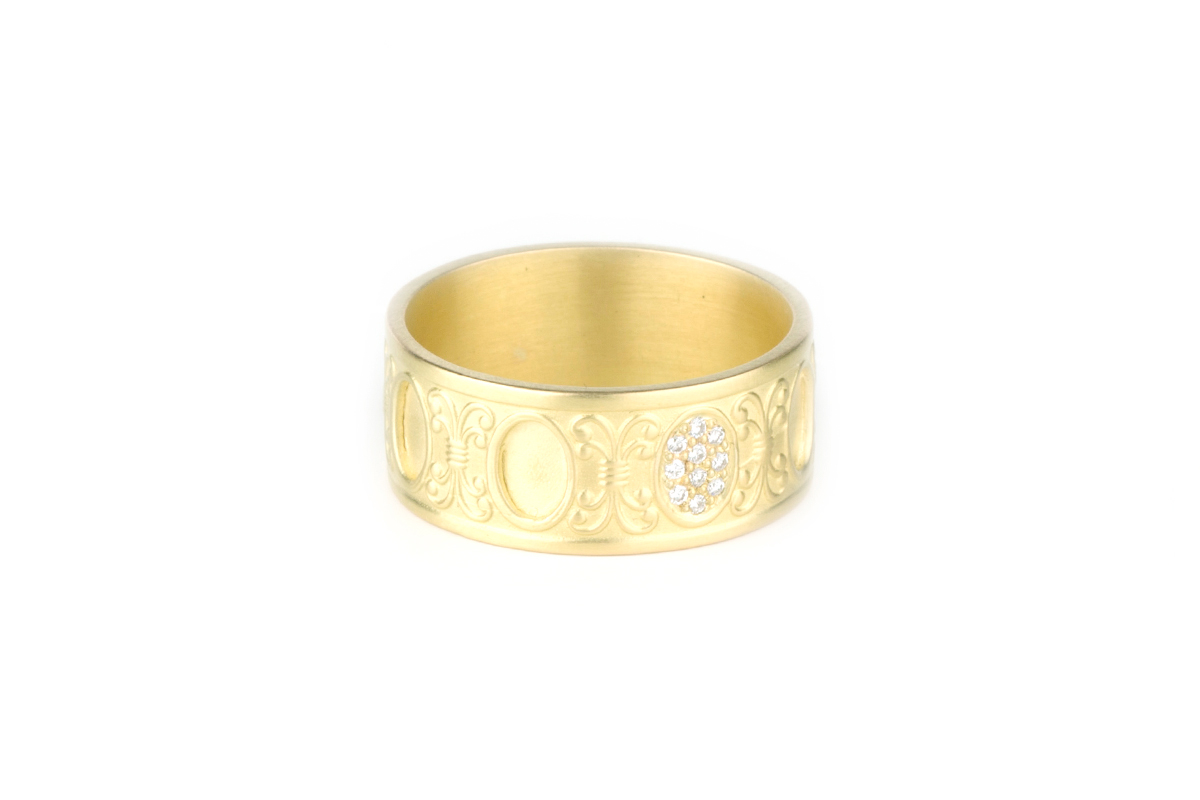 5584debf Wide Gold Ring · Versailles Ring with Diamonds · No.10 Edith Hegedüs