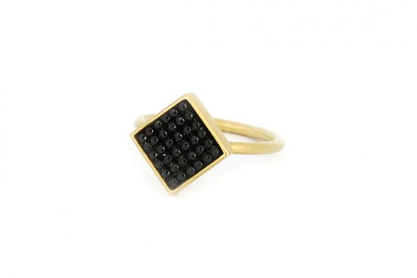 """Square Ring · Noir ring """"Rachel"""" with Glass Button · No.10 Edith Hegedüs"""